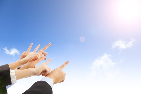 business people hands with blue sky  Stock Photo - 31091068