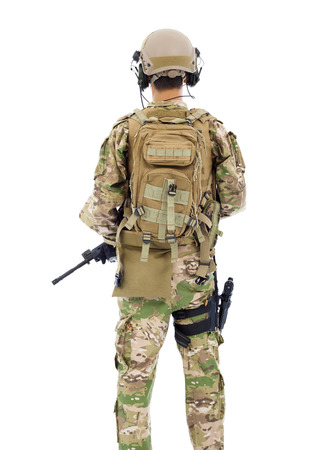 bulletproof vest: back view of soldier with rifle or sniper over white  Stock Photo