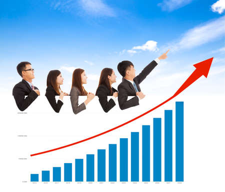business people with a marketing situation bar chart Stock Photo - 31120263