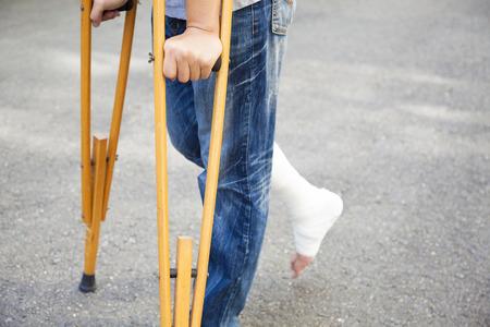 orthopaedic: closeup of leg on bandage with crutches