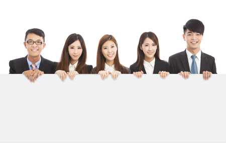asian young business people holding white board photo