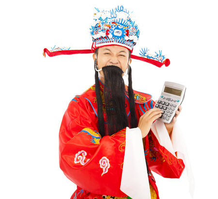 compute: God of wealth using a compute machine over white background