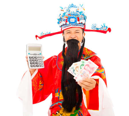 compute: God of wealth holding a compute machine and chinese currency