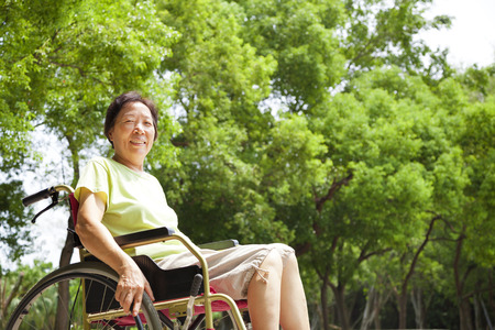 the elderly caregivers: Asian senior woman sitting on a wheelchai in the park