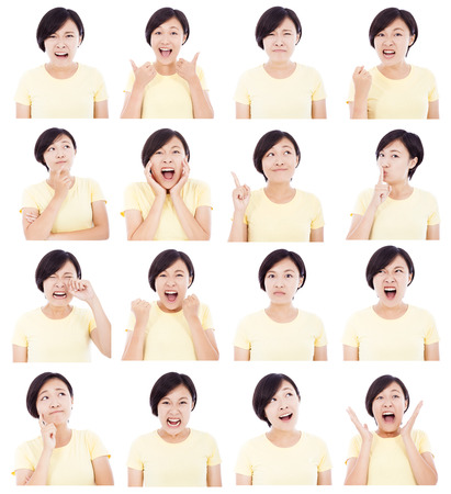 positive positivity: asian young woman makin different facial expressions