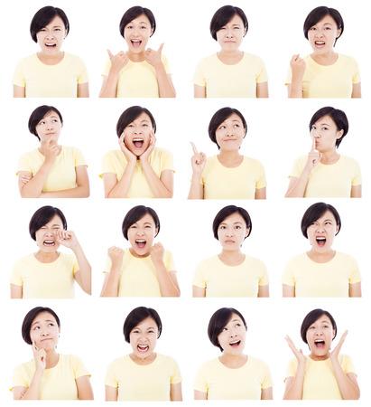 asustadotdo: Mujer joven asiática del makin diferentes expresiones faciales