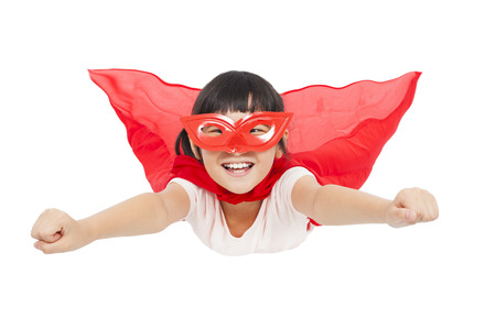 superhero kid flying isolated on white background photo