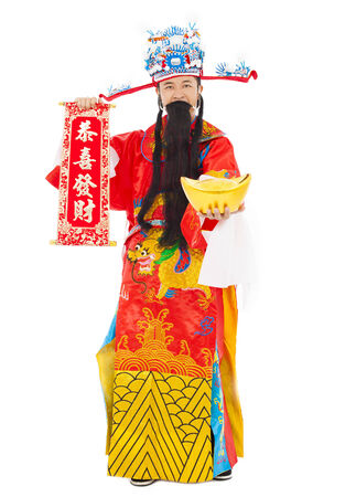 god of wealth chinese new year: god of wealth holding a congratulations reel and gold ingot.isolated on white background Stock Photo