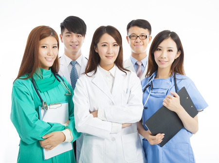 medical tools: Professional medical doctor team standing over white background
