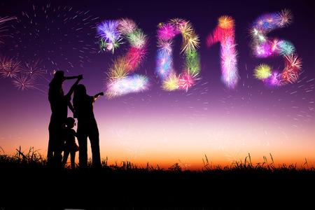 nouvel an: bonne ann�e 2015.family debout sur la colline et regarder les feux d'artifice Banque d'images