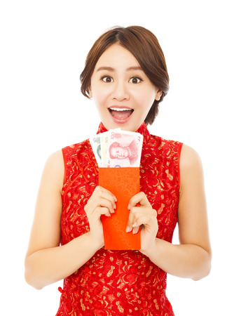 happy asian woman holding a red envelope with money.happy chinese new year