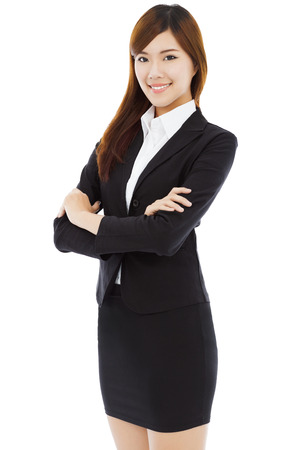 mujer cuerpo completo: empresaria longitud hermoso lleno de pie con aisladas sobre fondo blanco Foto de archivo