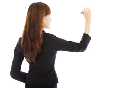 asian teacher: professional businesswoman drawing on the white or board