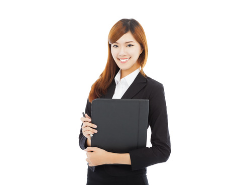 smiling businesswoman holding folder isolated on white  photo