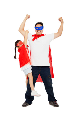 asian little girl hanging his father arm with superhero suit. isolated on white  background