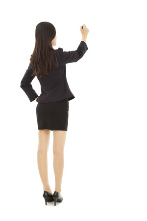 business woman drawing on the white background photo