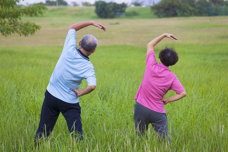 senior exercise: rear view of Senior couple doing gymnastics in the park.healthy concept Stock Photo