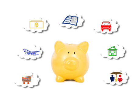 piggy bank save money for different purpose.