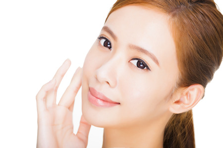 natural make up: Beautiful  young woman with clean fresh skin Stock Photo