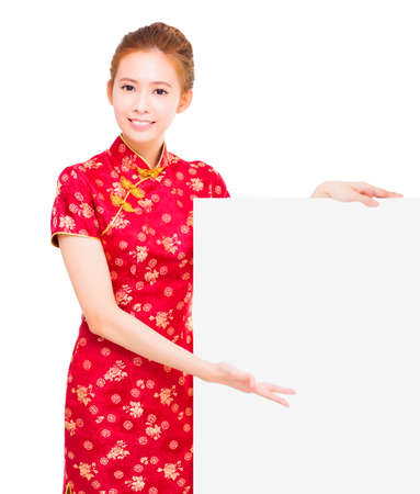beautiful young Asian woman with empty billboard photo