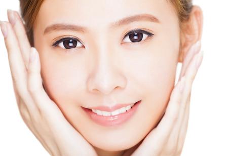 fresh face: Bella giovane donna di fronte Archivio Fotografico