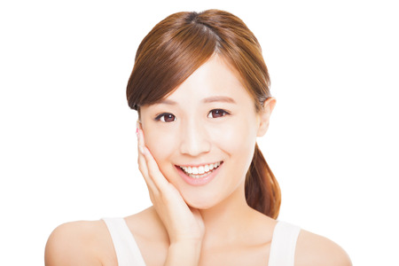 lachende jonge Aziatische vrouw gezicht Stockfoto