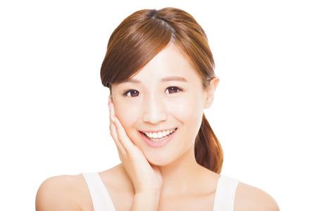 white smile: sorridente giovane donna asiatica volto Archivio Fotografico