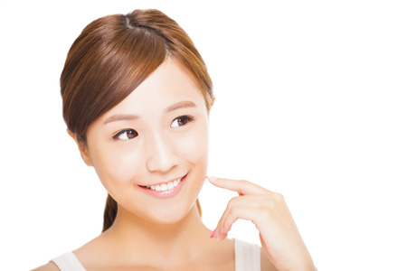 clean face: beautiful  young asian woman face