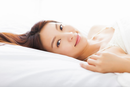 beautiful young  asian woman sleeping in the bed Stock Photo