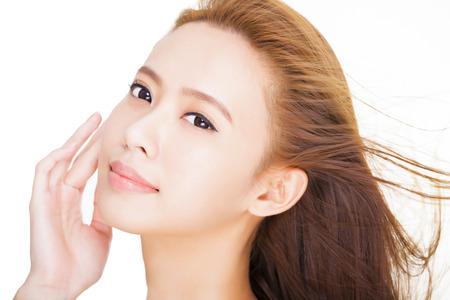 caras de emociones: primer plano Hermosa joven cara de la mujer asi�tica Foto de archivo