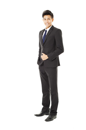 In voller Länge junger asiatischer Geschäftsmann stand Standard-Bild - 33820463