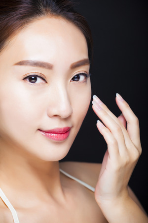 female face closeup: closeup beautiful young asian woman face  Stock Photo