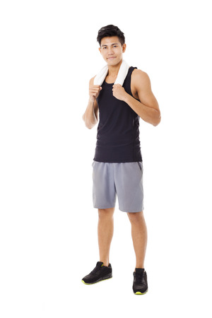 asian bodybuilder: Full length  of smiling sportive young  man Stock Photo
