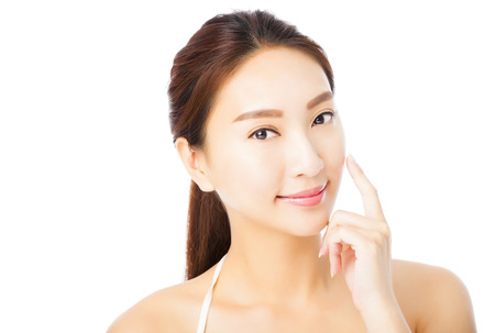 clean face: closeup beautiful young asian woman face isolated on white Stock Photo