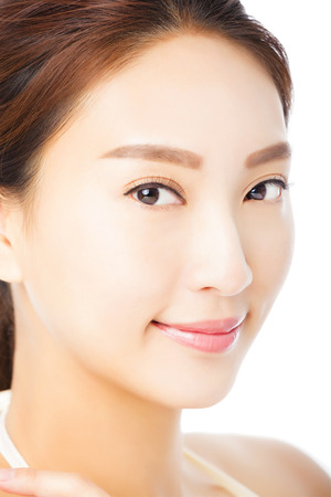 natural make up: closeup beautiful young asian woman face isolated on white Stock Photo