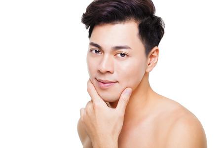 man face: closeup charming young man face Stock Photo