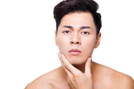 asian man face: closeup charming young man face Stock Photo
