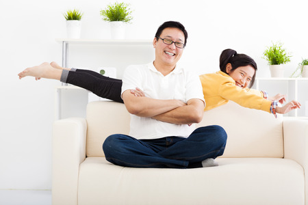family living room: happy family in living room