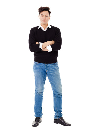 full length: Full length portrait of  smiling young man Stock Photo