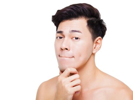 closeup charming young man face  Stock Photo