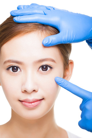 asian medical: young attractive  woman face and medical beauty concept