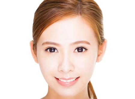 cara de alegria: primer plano Hermosa joven rostro