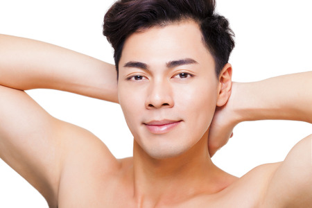 man face: close-up charmante jonge man gezicht Stockfoto