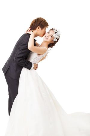 mooie Aziatische bruid en bruidegom Stockfoto