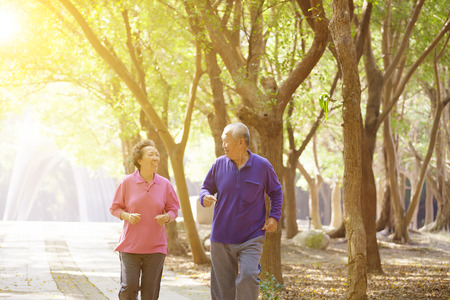 asian old man: Senior Couple Exercising In Park Stock Photo