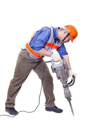 trabajador con equipos de perforación martillo neumático aislado en blanco
