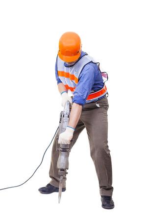 work tools: trabajador con equipos de perforaci�n martillo neum�tico aislado en blanco
