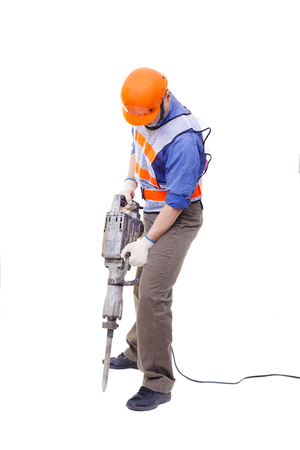 worker with pneumatic hammer drill equipment isolated on white photo
