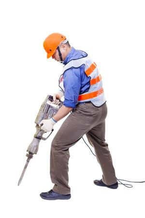 presslufthammer: Arbeiter mit pneumatischen Bohrhammer Ausrüstung isoliert auf weiß