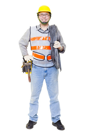 happy worker with electric cable and helmet